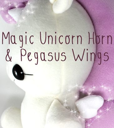Free plushie sewing pattern: Unicorn horn & pegasus wings