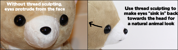 Thread sculpting plush faces