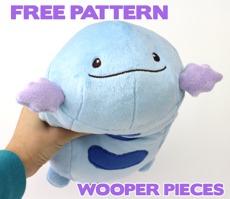 Free Pokemon plush sewing pattern: Wooper pieces