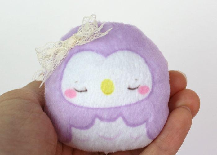 Small owl beanie plush – lavender (sleepy) 2.5″