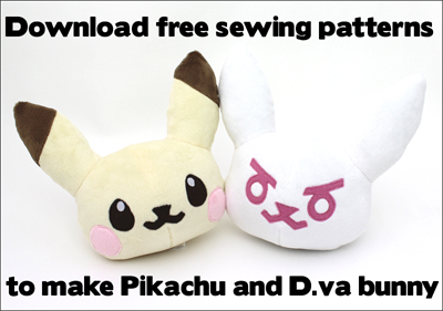 Free Pikachu & D.va plushie sewing patterns