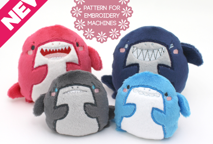 New ITH plush pattern: Kawaii sharks