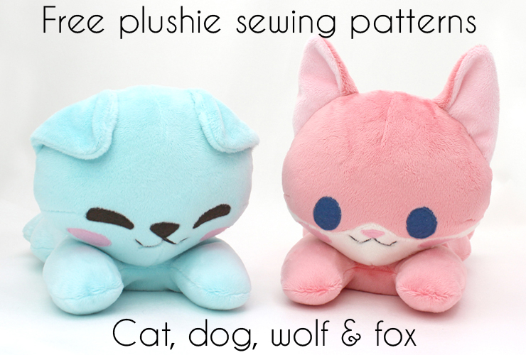 Free plushie sewing pattern: laying animal (cat, dog, fox, wolf)