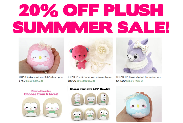 20% off plushies (limited & OOAK)