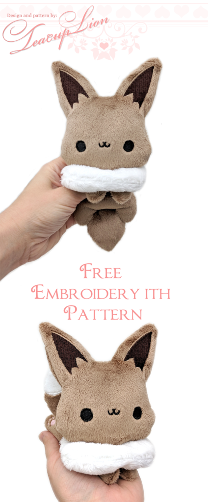 Free Eevee Pokemon plushie sewing pattern and ITH machine embroidery ...