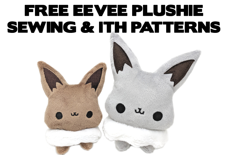 Free Eevee Pokemon plushie sewing pattern and ITH machine embroidery pattern