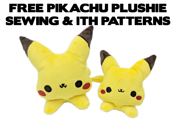 Free Pikachu Pokemon plushie sewing pattern and ITH machine embroidery pattern
