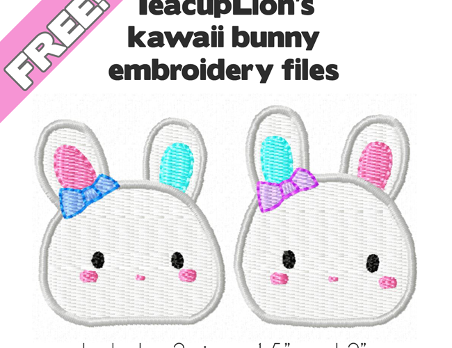 Free machine embroidery patterns: Kawaii bunnies