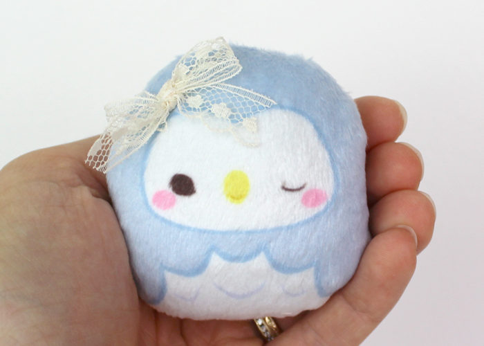 Small Owl beanie plush – baby blue (wink) 2.5″