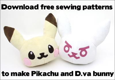 Free Pikachu & D.va plushie sewing patterns