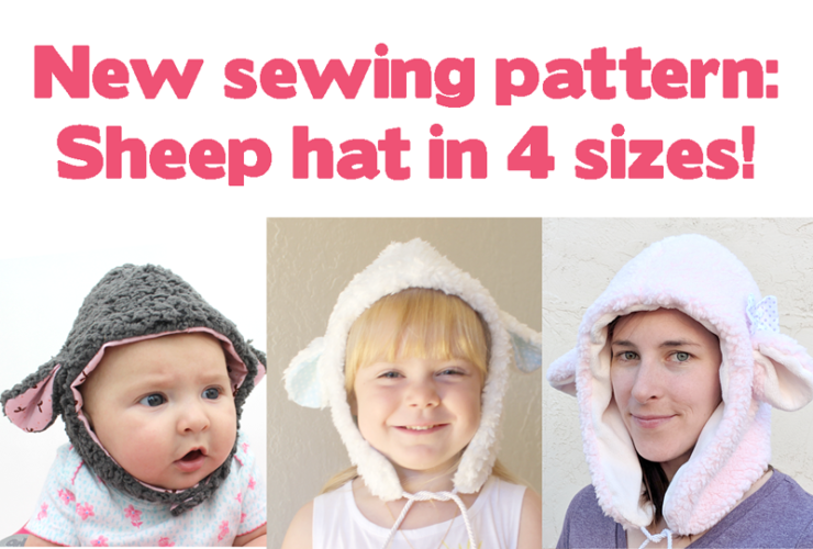 New sewing pattern: sheep animal hat in 4 sizes